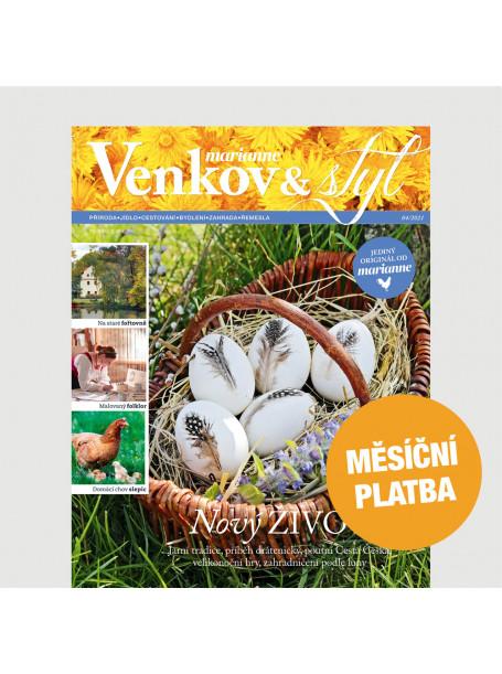 Roční tištěné předplatné Venkov&Styl - Marianne  - MĚSÍČNÍ PLATBA  jen 64 Kč